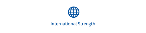 "Ein Kreissymbol mit dem Text ""International strength"""