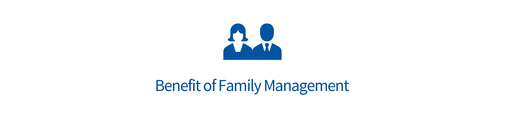 "Zwei Personen mit dem Text Text ""benefit of family management"""